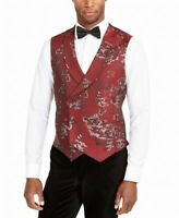 Tallia Mens Vest Red Size Large L Slim Fit Floral Double Breasted $125 #034