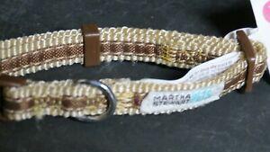 "Martha Stewart Dog Collar Natural/Brown XSMALL  New! Soft Fabric Neck 8-12"""