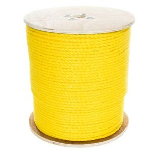 """GOLBERG Twisted Polypropylene Rope 1/4"""", 5/16"""", 3/8"""", 1/2"""", 5/8"""", 3/4"""" in Yellow"""