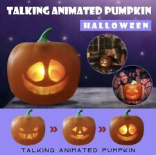 Halloween Flash Talking Animated LED Pumpkin Projection Lamp for Home Party evil