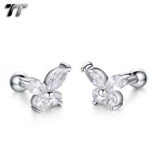 TT Silver Surgical Steel CZ Butterfly Cartilage Tragus Earrings (TR36S) NEW