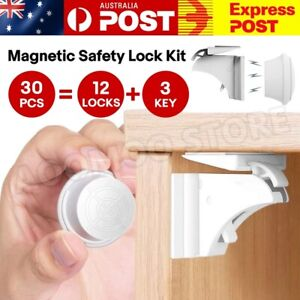 30PCS Magnetic No Drilling Cabinet Drawer Cupboard Baby Kids Safety Locks AU