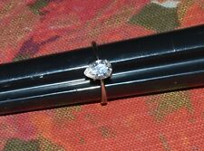Sterling Silver And Cubic Zirconia Tear Drop Engagement Ring Size 8