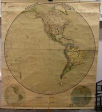 Murs Carte occidentale Hémisphère 182x199cm vintage planiglobe Wall Chart ~ 1915