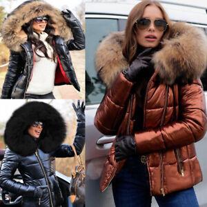 Roiii Womens Zipper Winter Coat Down Jacket Ladies Fur Hooded Jackets Size 8-20