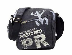 Robin Ruth PUERTO RICO Coqui Taino Blck Unisex Messenger Crossbody Shoulder Bag