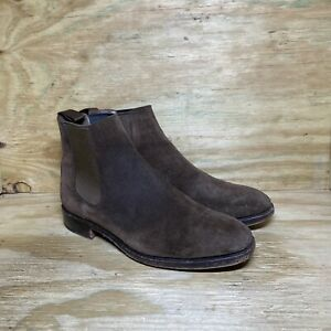 Carmina Men's Suede Chelsea Boots Size 7.5 Brown Ankle Booties
