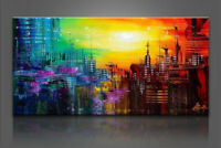 Modern Hand-painted Abstract Huge Wall Art Oil Painting On Canvas,City(No Frame)