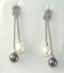 Estate 14k Italy White Gold Cultured Freshwater Pearl Lariat Dangling Earrings