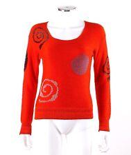 Vtg c.1980s - 1990s Art Wear Blood Orange Glass Bead Geometric Knit Sweater Top