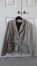 Women's Brown Beige Eastex Button up Formal Tailored Blazer With Pockets Size 14