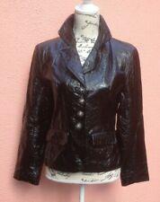 Black Leather 12 Jacket Shiny Wet 40 M ladies Tapestry Cross Blazer Androgynous