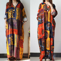 OVERSIZE Women Casual Long Sleeve Loose Baggy Kaftan Oversized Maxi Dresses Plus