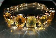 "Antique Vintage Estate Citrine 14k Yellow Gold Bracelet 7.25"" 28.4 Grams"