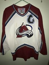 Men s Vintage CCM Colorado Avalanche Joe Sakic  19 White Maroon Red Jersey  ... 951a10bef