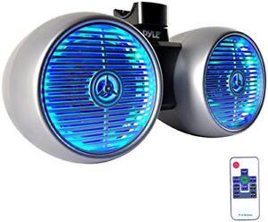 Pyle PLMRWB652LES Marine Tower Wakeboard 6.5'' LED Speakers, Waterproof, Silver
