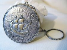 Antique Silver Schooner Sea Mariner Boat Sailing Ship Finger Ring Dance Compact