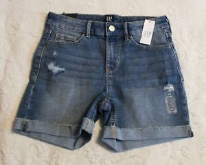 Gap Girl's Rolled Hem Mid Rise Stretch Denim Shorts JR7 Blue Size 14 NWT