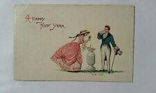 HAPPY NEW YEAR 1922 postcard, Formal Couple , top hat, monocle, bonnet, 186