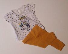 Matalan & NEXT Baby Girls White Polkadot Top & Yellow Leggings Outfit 3-6 Months