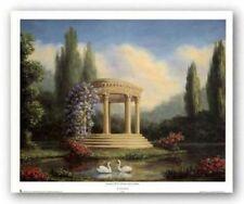 Garden With Swans and Gazebo Tim Ashkar African American Art Print 16x20