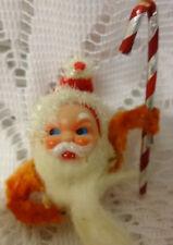 Antique Chenille Christmas Ornament Santa Face Candy Cane