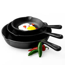 Cast Iron Fry Pan Set 3 Piece Skillets Frying Kitchen Home Camping Cooking NEW