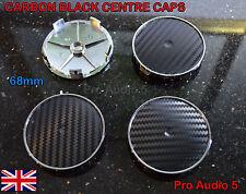 4x CARBON BLACK WHEEL CENTRE CAPS 68mm UNIVERSAL BMW MV1 MV2 E46 E36 E90 E34 UK