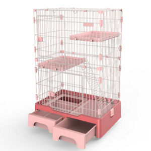 128 cm Pink Pet 3 Level Cat Cage House With Litter Tray And Storage Box