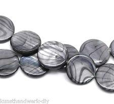 KUS 1Strang Grau Rund Perlmutt Muschel Perlen Beads 20mm 40cm