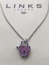 100% Genuine Links Of London LOVELOCK Pink Topaz Necklace - NOS - Inc. Box
