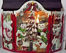 Metal Fireplace Screen Holiday Christmas Snowman Winter Tree 3D Style Large