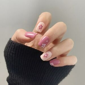 Summer Short French Artificial Press On Nail Decor Pink Flower False Nails Tips