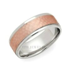 TWO TONE GOLD WEDDING BANDS, 10K SOLID WHITE & ROSE GOLD MENS WEDDING RING