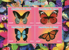 Chad 2014 MNH Butterflies Monarch Butterfly 4v M/S Papillons Insects Stamps