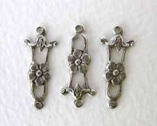 Antiqued Silver Ox Flower Filigree Connector Plated Drop Link Charm 20mm