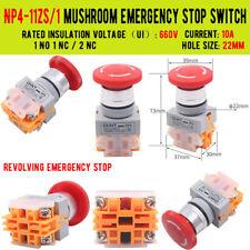 Red Mushroom Cap Self Locking Dpst Emergency Stop Push Button Switch 660v 10a
