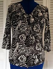 Women's M TALBOTS Black/Cream Print Knit  Long Top Stretch 3/4 Sleeves Casual