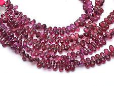 """Rhodolite Garnet Gemstone 3x5mm-6x4mm Faceted Teardrop Briolette Beads 5"""" Strand"""