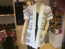 EMRECO grey/white stripe cardigan brand new and size14 cotton mix attractive