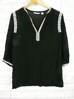 Country road top black cream embroidered trim v neck sz xs, 8