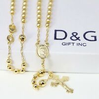 "DG 18"" Gold-Filled 18K Gold Rosary VIRGIN MARY+JESUS CROSS Necklace Unisex*BOX"