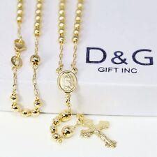 "DG 18"" Gold-Filled,18K Gold Rosary VIRGIN MARY+JESUS CROSS Necklace Unisex*BOX"