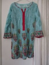 Colorful Tunic Dress womens Bright light blue green hippy boho Vintage S