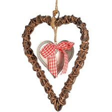 WICKER & METAL TIN HANGING HEART DOOR SIGN SHABBY CHIC DECORATION GINGHAM BOW