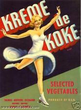 *Original* KREME DE KOKE Ice Figure Skater Girl Veg Crate Label NOT A COPY!