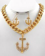NEW CRYSTAL ANCHOR PENDANT NAUTICAL GOLD LINK CHAIN NECKLACE & EARRINGS SET