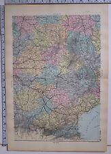 1891 ANTIQUE MAP ~ FRANCE SOUTH CENTRAL TARN DORDOGNE CORREZE CREUSE