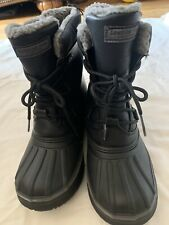 London Fog Black Waterproof Winter Boots Shoes Youth Size 4 Snow