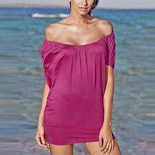 Carmen Sommer TOP Longtop Tunika Shirttop Strand Shirt PINK Gr.40/42 Stretch